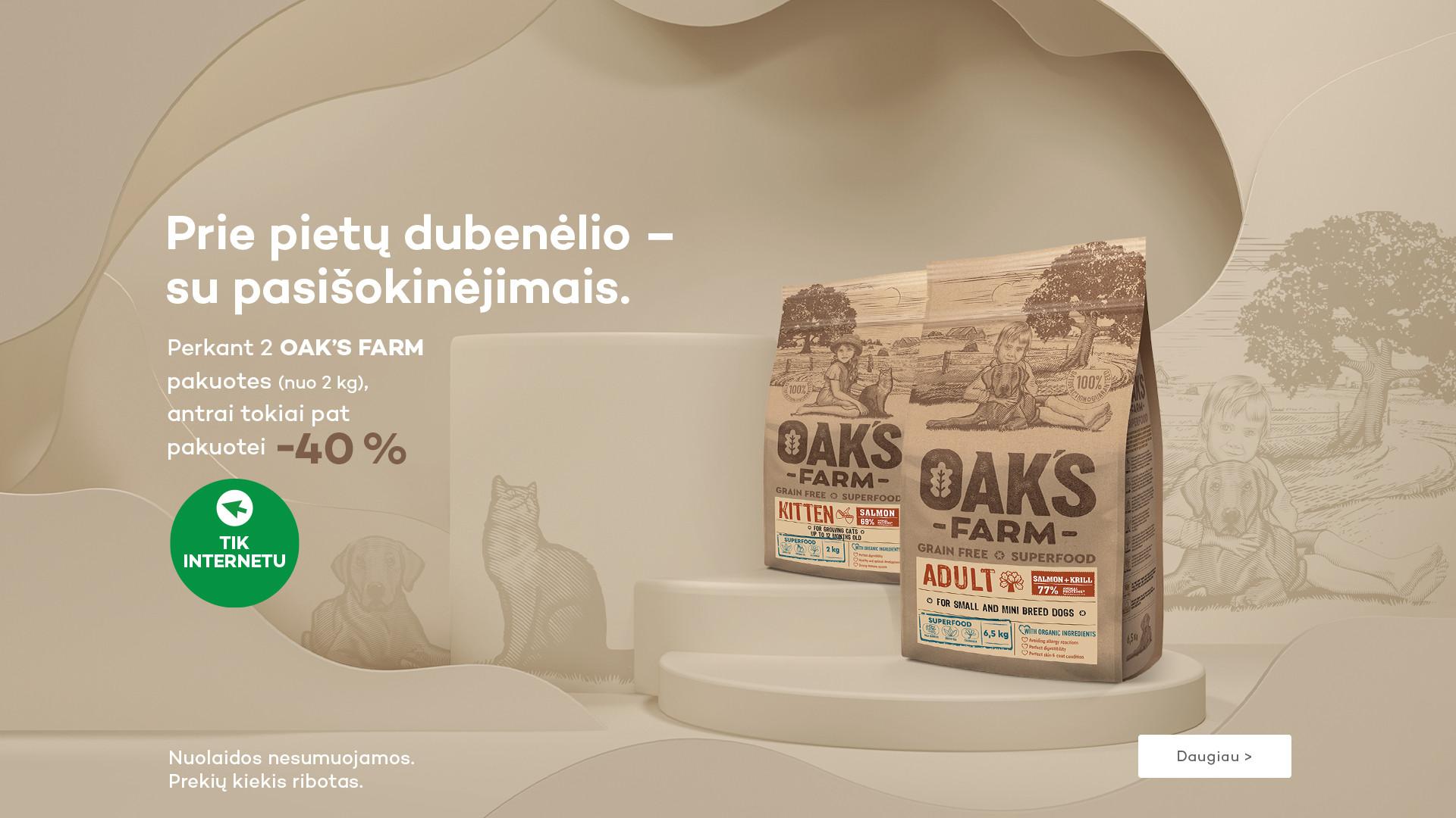 Oak's Farm antra pakuote (nuo 2 kg) -40%