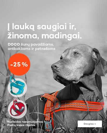 Doco šunų pavadžiams, antkakliams ir petnešoms - 25%