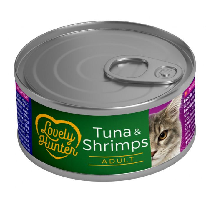 LOVELY HUNTER Konservuotas pašaras katėms su tunu ir krevetėmis
