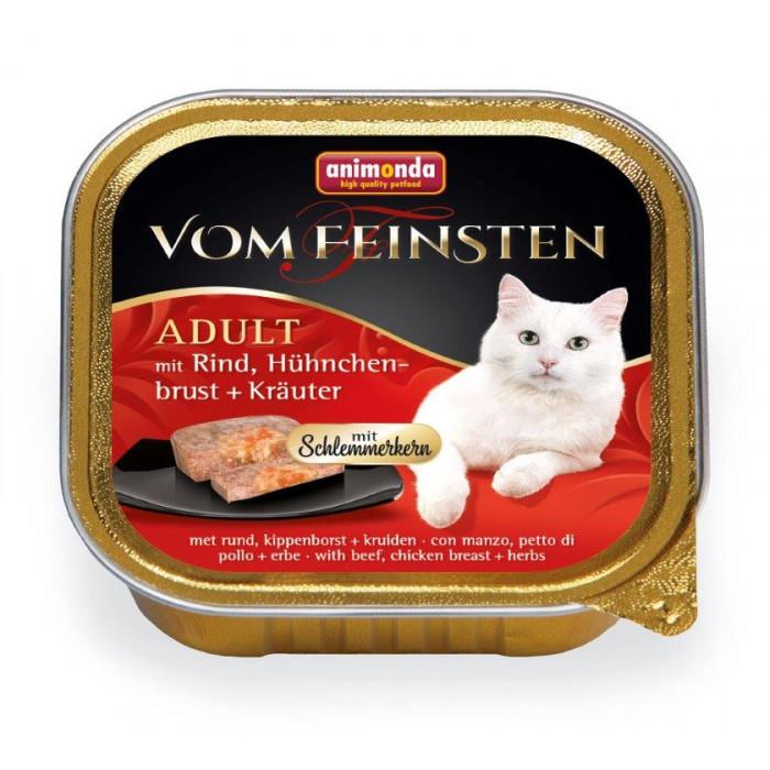 ANIMONDA Vom feinsten schlemmerkern Konservuotas pašaras katėms su jautiena, vištienos krūtinėle ir žolelėmis