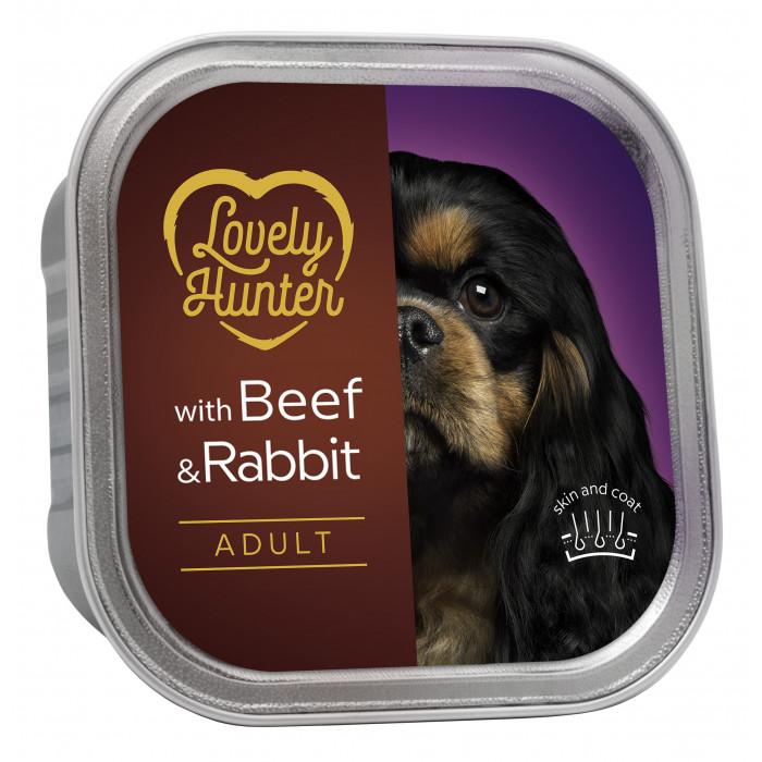 LOVELY HUNTER Dog adult beef and rabbit Konservuotas pašaras,