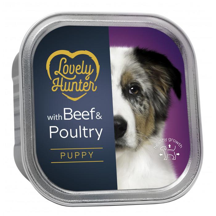 LOVELY HUNTER Puppy Beef and chicken Konservuotas pašaras šunims