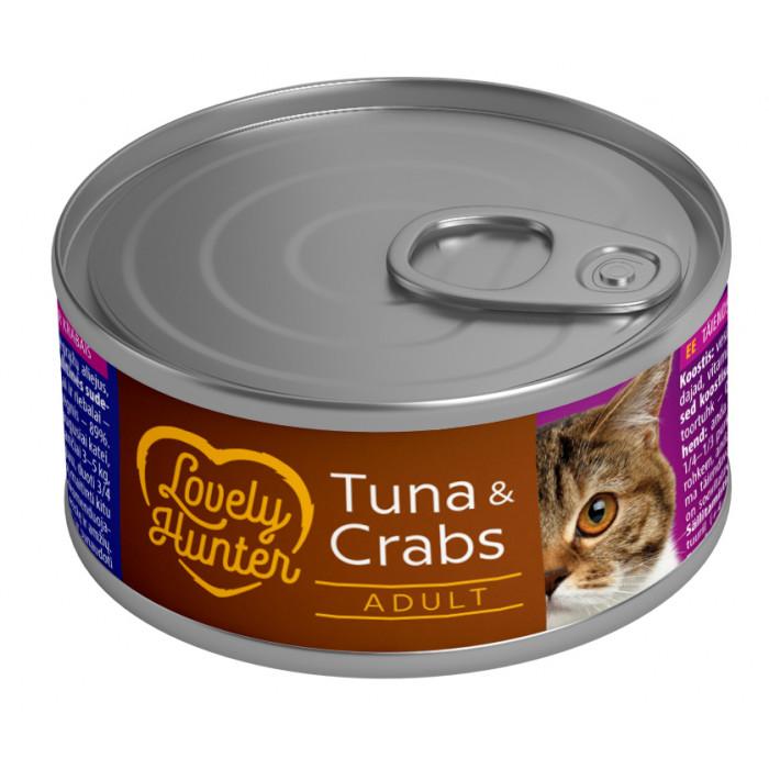 LOVELY HUNTER Konservuotas pašaras katėms su tunu ir krabais