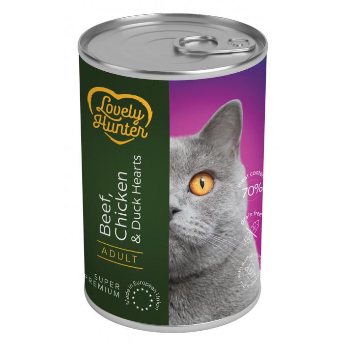LOVELY HUNTER Konservuotas pašaras katėms su jautiena, vištiena ir ančių širdelėmis