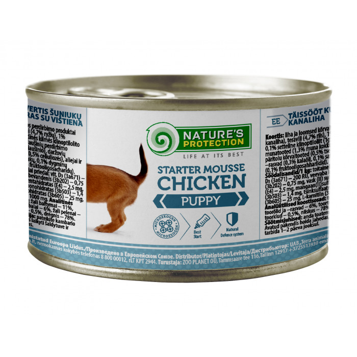 NATURE'S PROTECTION Puppy Starter Mousse Chicken Konservuotas pašaras