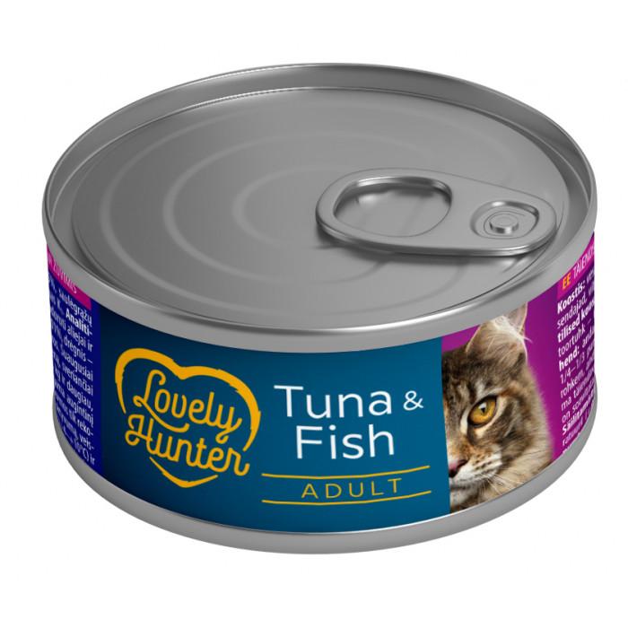LOVELY HUNTER Konservuotas pašaras katėms su tunu ir žuvimis