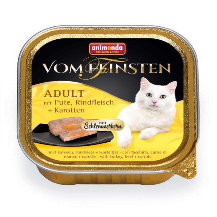 ANIMONDA Vom feinsten schlemmerkern Konservuotas pašaras katėms su kalakutiena, jautiena ir morkomis