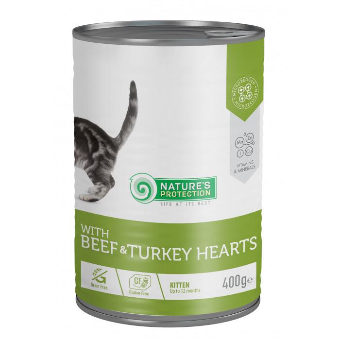 NATURE'S PROTECTION Kitten with beef & turkey hearts Konservuotas pašaras