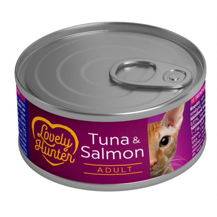 LOVELY HUNTER Konservuotas pašaras katėms su tunu ir lašiša