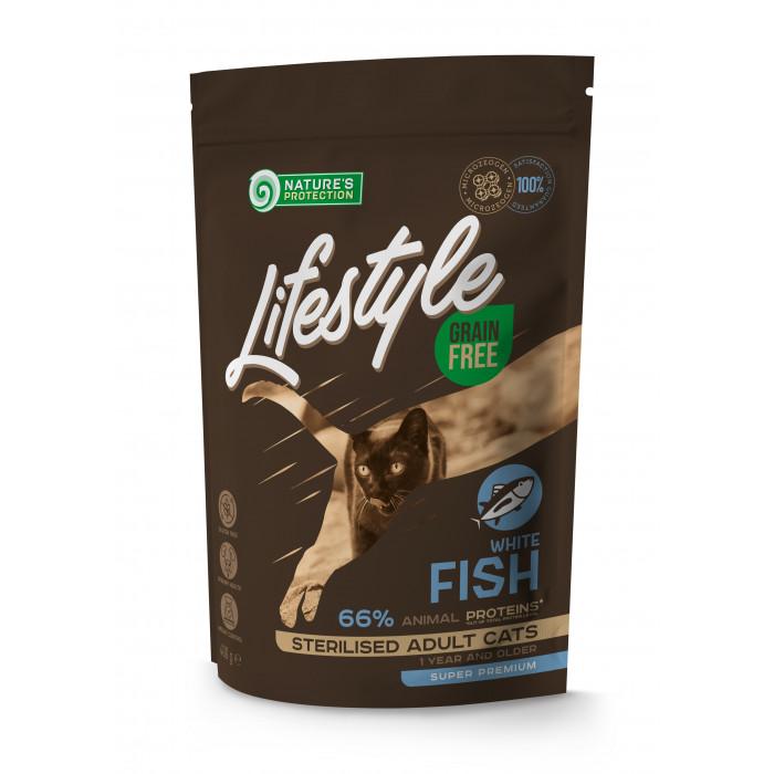NATURE'S PROTECTION LIFESTYLE Adult Grain Free White Fish Sausas pašaras katėms Sterilised