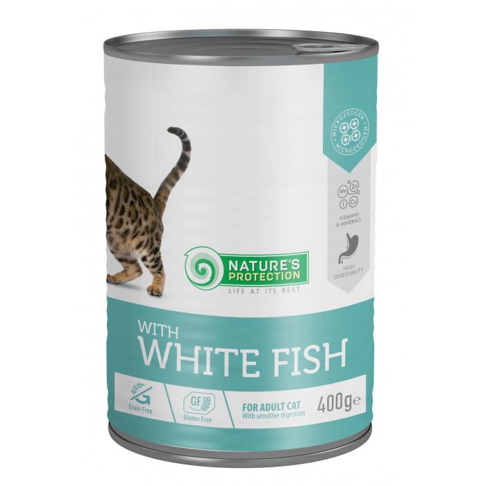 NATURE'S PROTECTION Cat sensitive digestion with white fish Konservuotas pašaras