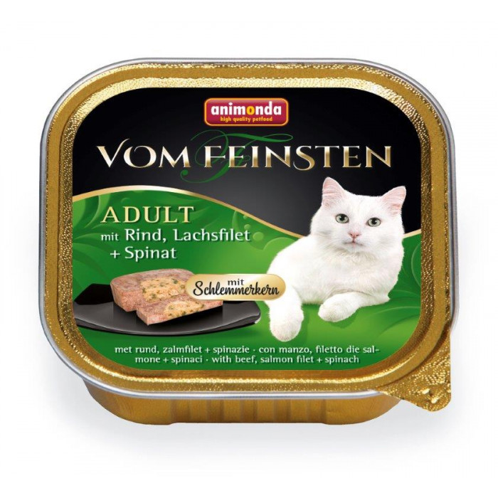 ANIMONDA Vom feinsten schlemmerkern Konservuotas pašaras katėms su jautiena, lašišos file ir špinatais