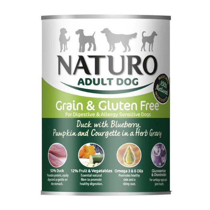 NATURO Grain Free Konservuotas pašaras šunims su antiena, mėlynėmis, moliūgais ir cukinijomis