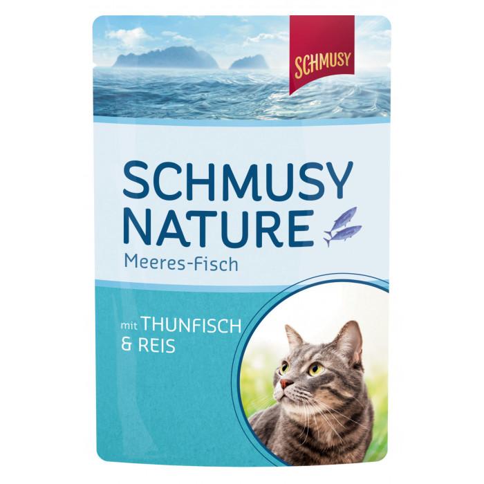 FINNERN MIAMOR Schmusy Nature Meeres-fish Konservuotas pašaras katėms su tunu ir ryžiais drebučiuose