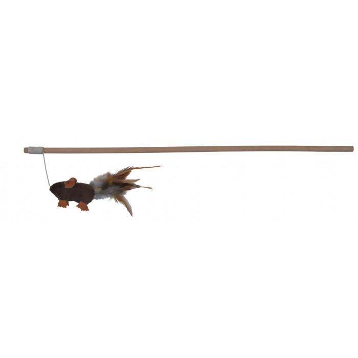 TRIXIE Žaislas katėms Pelė su plunksnomis ant meškerės