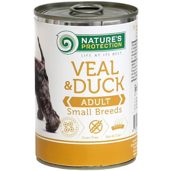 NATURE'S PROTECTION Dog Adult Small Breed Veal and Duck Konservuotas pašaras šunims