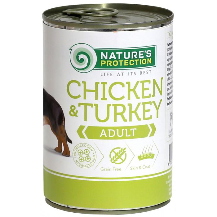 NATURE'S PROTECTION Dog Adult Chicken & Turkey Konservuotas pašaras šunims