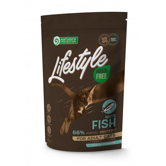 NATURE'S PROTECTION LIFESTYLE Adult Grain Free White Fish Sausas pašaras katėms