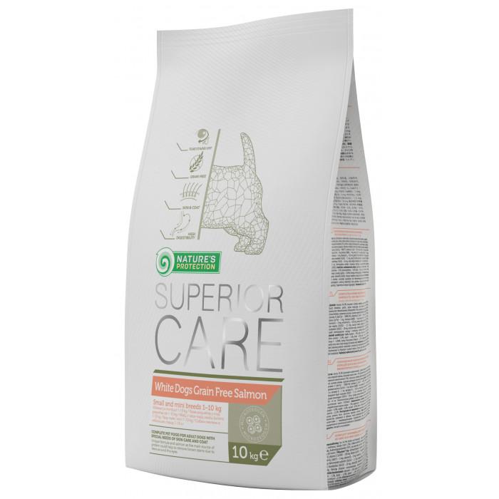 NATURE'S PROTECTION SUPERIOR CARE White dogs Small & Mini Breeds Adult Grain Free Salmon Sausas pašaras šunims