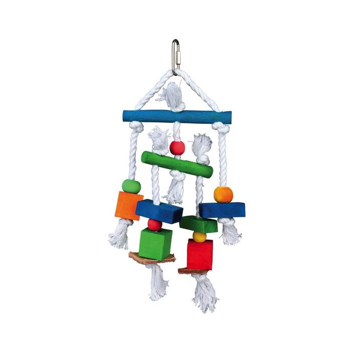 TRIXIE Žaislais paukščiams Medinis su oda ir virve