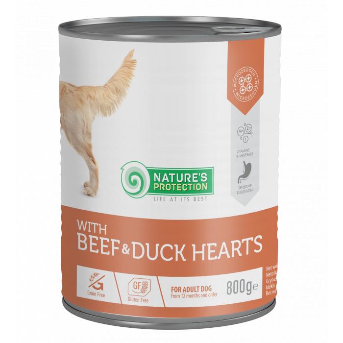 NATURE'S PROTECTION Beef and Duck Hearts konservuotas pašaras šunims