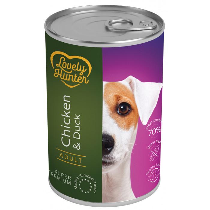 LOVELY HUNTER Adult Konservuotas pašaras šunims su vištiena ir antiena