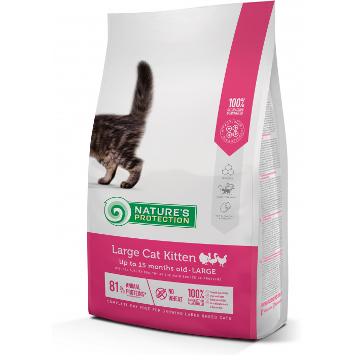NATURE'S PROTECTION Large cat Kitten Poultry Up to 15 months old Large breed Pašaras katėms