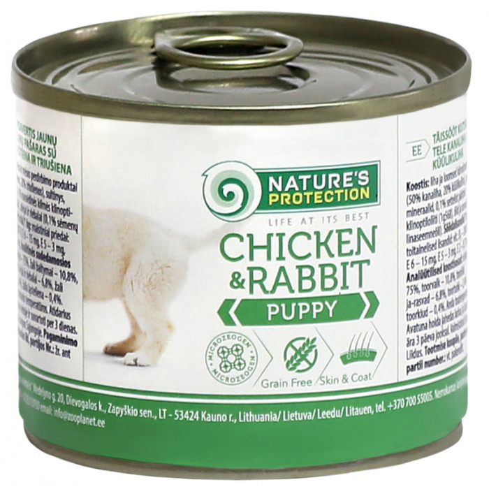 NATURE'S PROTECTION Puppy Chicken&Rabbit Konservuotas pašaras šunims