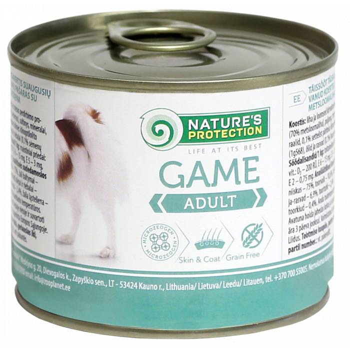 NATURE'S PROTECTION Dog Adult Game su žvėriena Konservuotas pašaras šunims