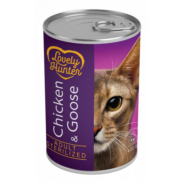 LOVELY HUNTER Sterilized cat chicken and goose Konservuotas pašaras,