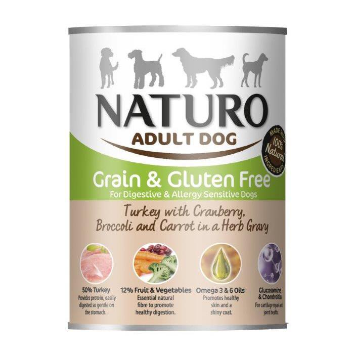 NATURO Grain Free Konservuotas pašaras šunims su kalakutiena, spanguolėmis, brokoliais ir morkomis