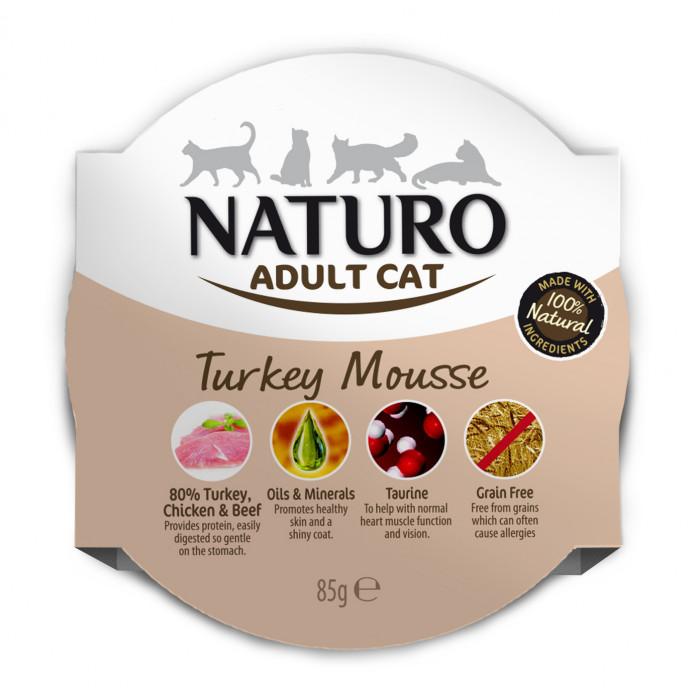 NATURO Cat Turkey Mousse Konservuotas pašaras