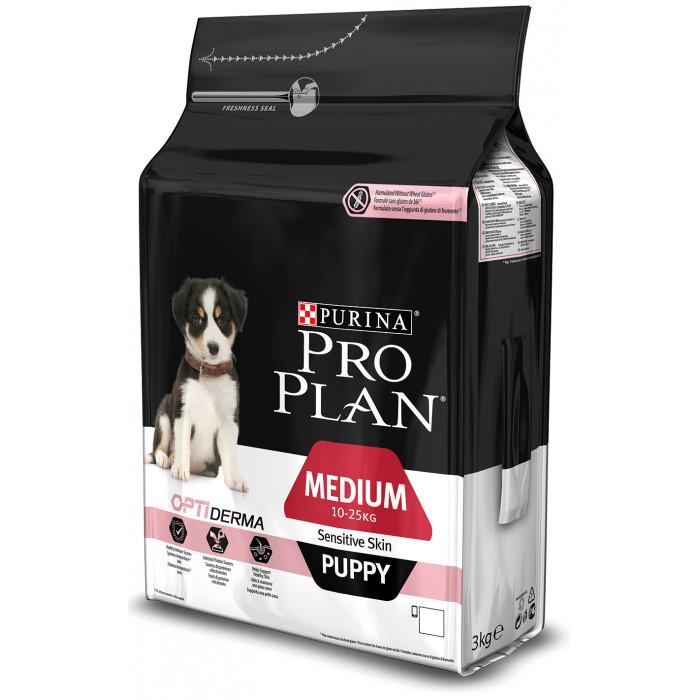 PRO PLAN OPTIDERMA Sensitive Skin Medium Puppy, sausas pašaras jauniems, vidutinio dydžio šunims su lašiša