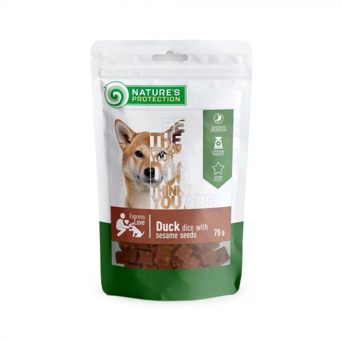 NATURE'S PROTECTION skanėstas šunims antienos gabaliukai su sezamo sėklomis