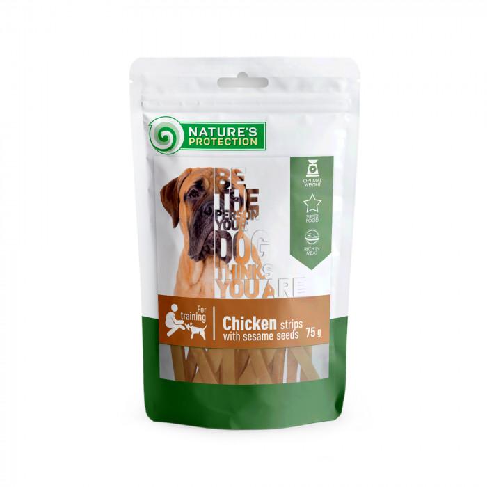 NATURE'S PROTECTION skanėstas šunims vištienos juostelės su sezamo sėklomis