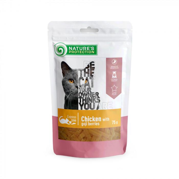 NATURE'S PROTECTION skanėstas katėms vištiena  su goji uogomis