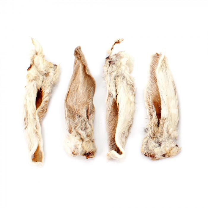 NATURE LIVING Skanėstas šunims džiovintos triušių ausys su kailiu