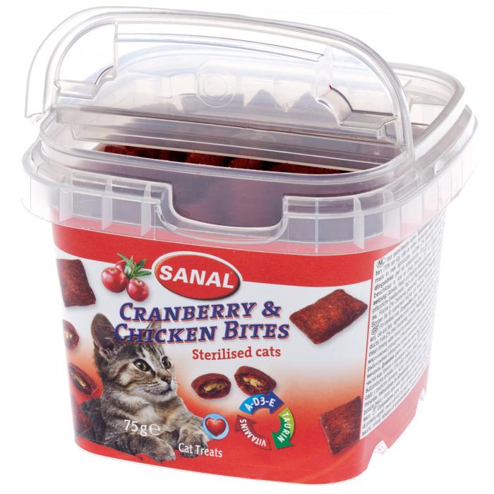 SANAL Cat Cranberry & Chicken Bites Cup Pašaro priedas katėms su spanguolėmis ir vištiena