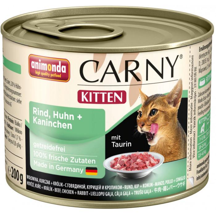 ANIMONDA Carny kitten Konservuotas pašaras katėms su jautiena, vištiena ir triušiena