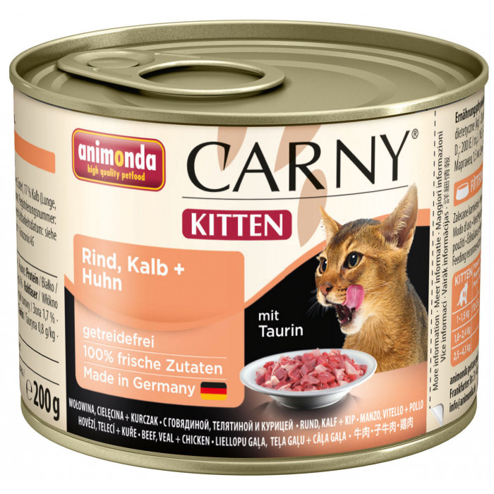 ANIMONDA Carny kitten Konservuotas pašaras katėms su jautiena, veršiena ir vištiena
