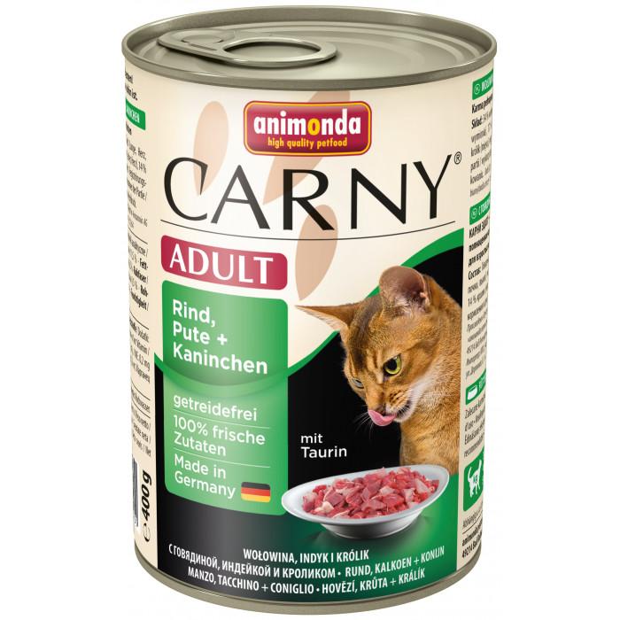 ANIMONDA Carny adult Konservuotas pašaras katėms su jautiena, kalakutiena ir triušiena