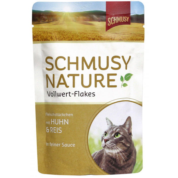 FINNERN MIAMOR Schmusy Nature Vollwert-flakes Konservuotas pašaras katėms su vištiena ir ryžiais