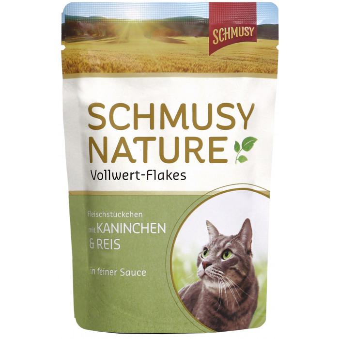 FINNERN MIAMOR Schmusy Nature Vollwert-flakes Konservuotas pašaras katėms su triušiena ir ryžiais