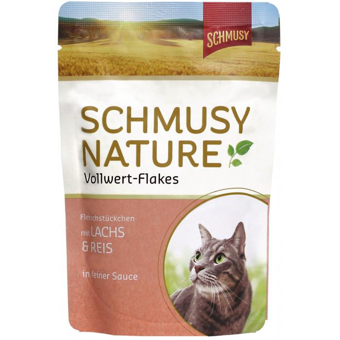 FINNERN MIAMOR Schmusy Nature Vollwert-flakes Konservuotas pašaras katėms su lašiša ir ryžiais