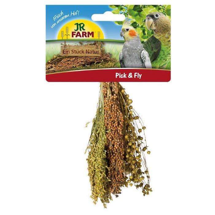 JR FARM Pick&Fly Šluotelė paukščiams su soromis, sorgomis ir linais,