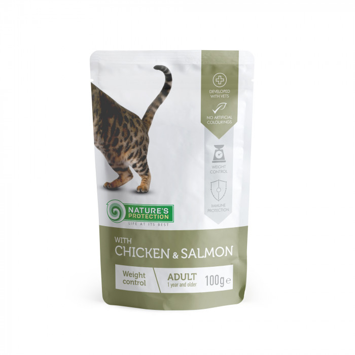 NATURE'S PROTECTION Weight control Konservuotas pašaras katėms su vištiena ir lašiša