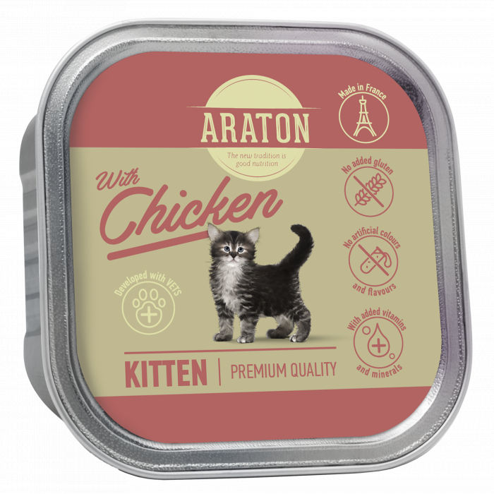 ARATON Kitten with chicken, konservuotas kačiukų pašaras su vištiena
