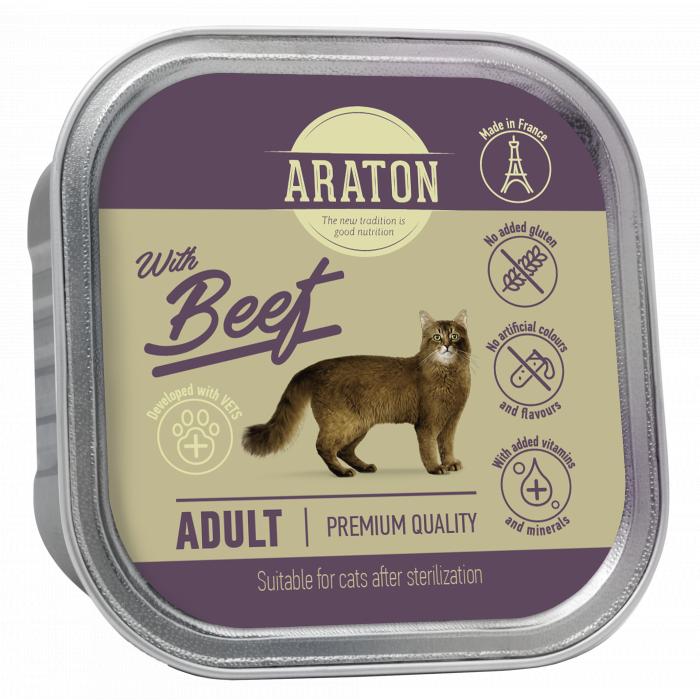 ARATON adult cat with beef, konservuotas suaugusių kačių pašaras