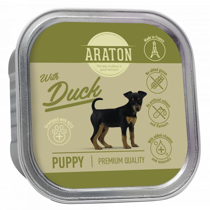 ARATON Puppy with duck konservuotas pašaras jauniems šunims su antiena
