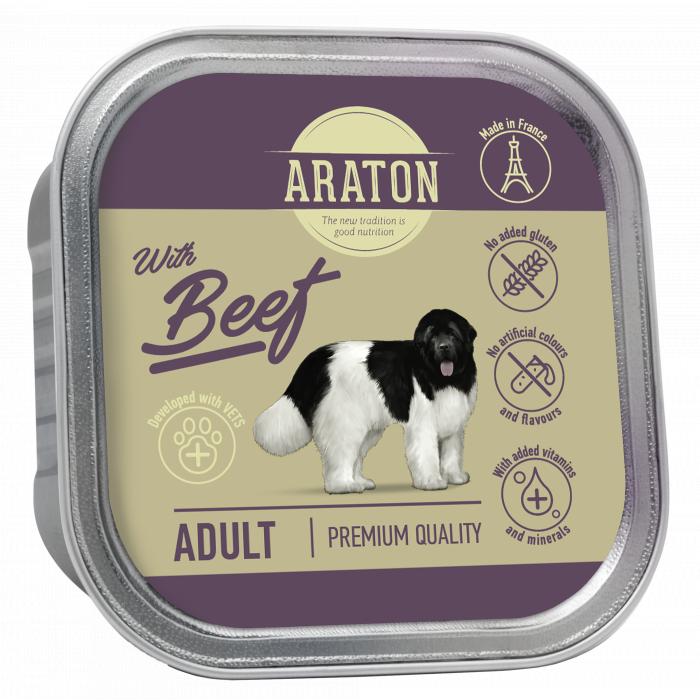ARATON Adult with beef konservuotas pašaras suaugusiems šunims su jautiena